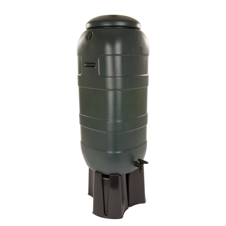 BeGreen mini regenton, pe, donkergroen, 100 liter, incl. zwarte standaard en kraan  default 870x870