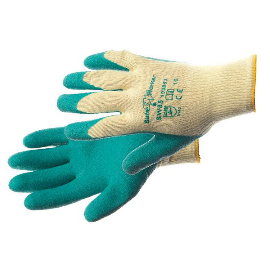 SafeWorker werkhandschoenen, latex, rondgebreid, type SW 85 Pro, geel/groen, maat 9/L  default 870x870