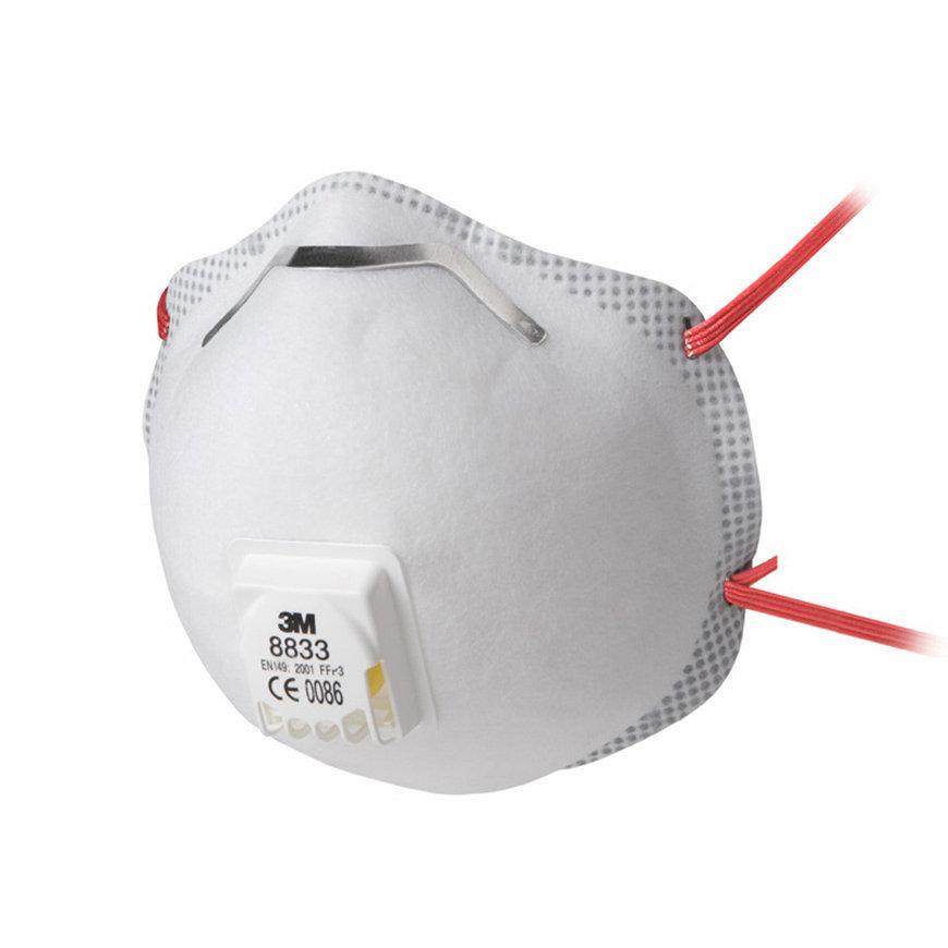 3M stofmasker met ventiel, FFP3, type 8833S, verpakking à 10 stuks  default 870x870